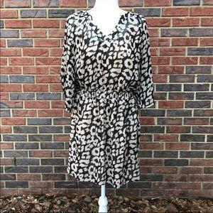 Express Black Cream Animal Print Dress  L